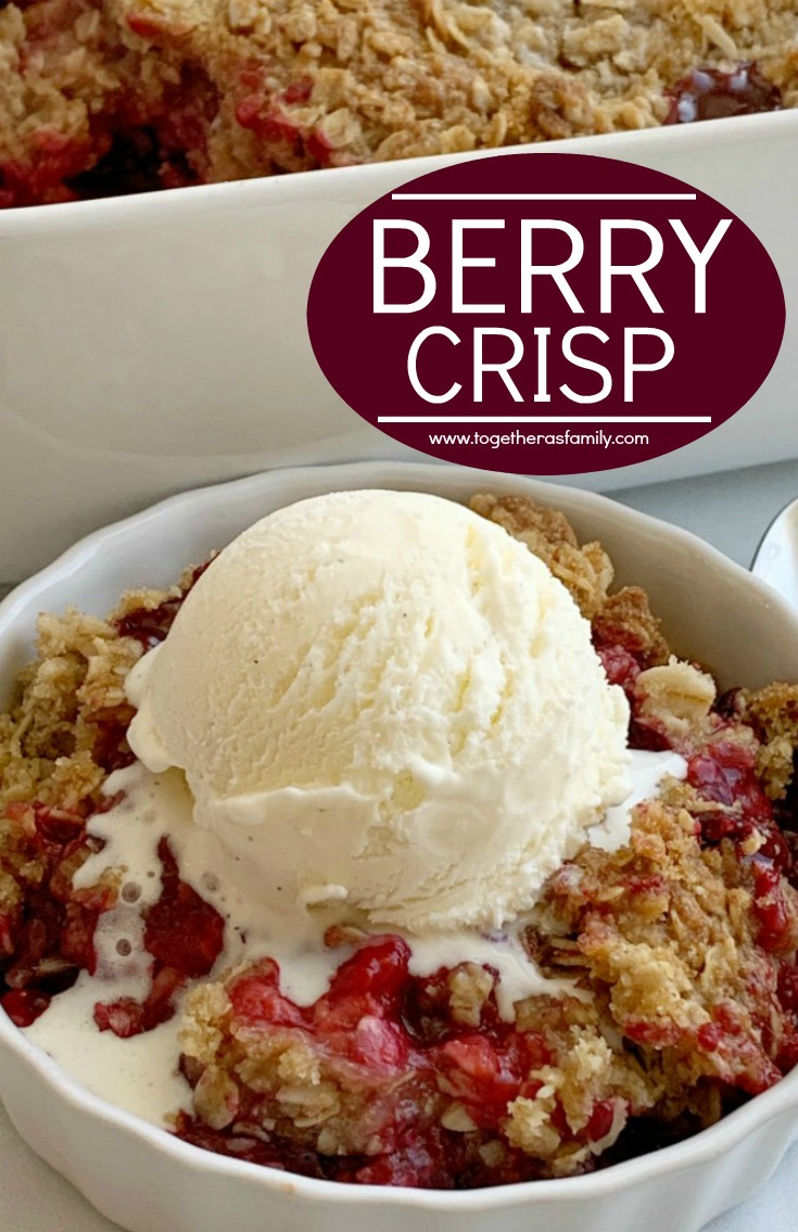 Berry Crisp | Crisp Recipe | Berry Crisp with juicy raspberries and blackberries and a mile high crisp topping! Healthy layer of fresh berries and sweet crumble topping. Serve with a scoop of vanilla ice cream for a delicious summer dessert with ripe berries. #dessert #dessertrecipe #crisp #berrycrisp #recipeoftheday