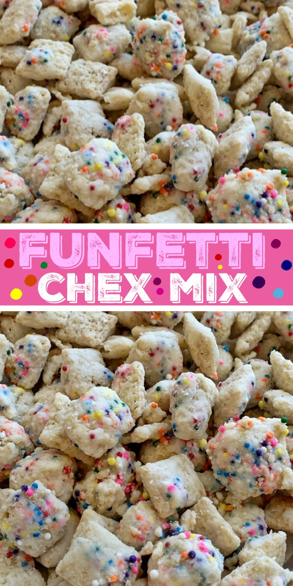Funfetti Chex Mix | Muddy Buddys | Puppy Chow Recipe | Rice Chex cereal covered in white chocolate, rainbow sprinkles, and powdered sugar. So fun and easy to make with kids! The best sweet chex mix that tastes like funfetti sugar cookies! #chexmix #puppychow #recipeoftheday #funfetti #rainbowfood