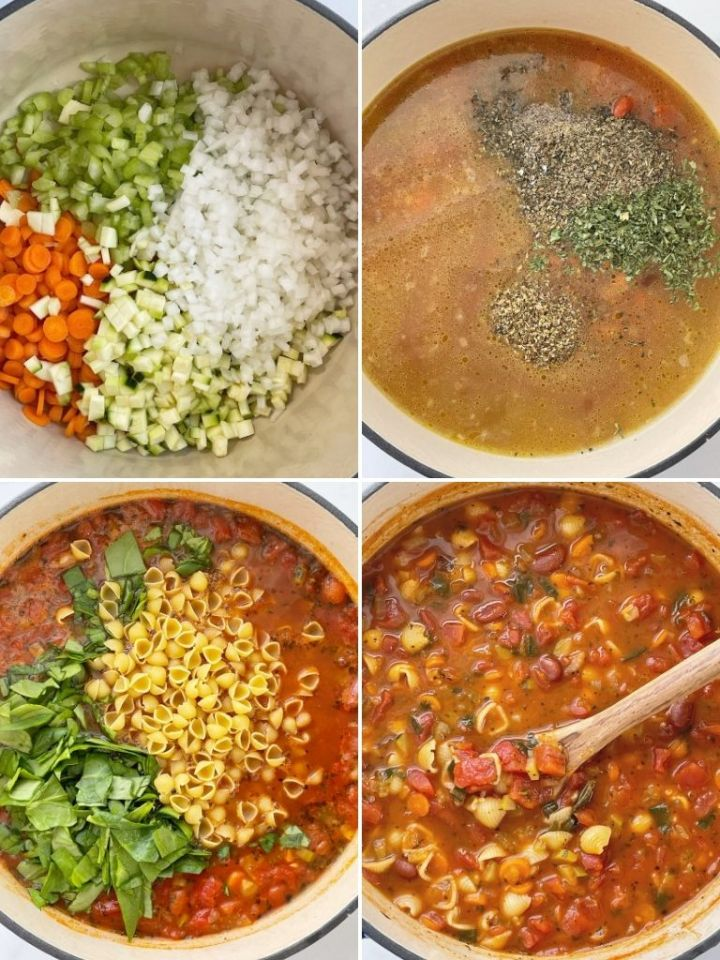 How to make minestrone soup recipe with step-by-step photo instructions.