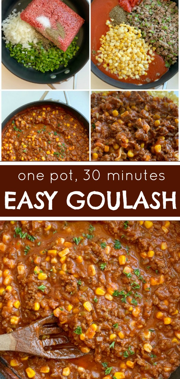 Easy Goulash Recipe | One Pot Recipe | Easy Goulash Recipe made on the stove top in one pot and ready in 30 minutes! Serve this goulash over egg noodles or pasta. Kid friendly and a great quick & easy dinner recipe. #onepot #easydinnerrecipe #goulash #recipeoftheday #dinner #groundbeef