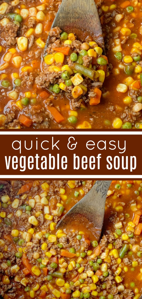 Vegetable Beef Soup | 30 Minute Soup Recipe | Vegetable Beef Soup only needs one pot and 30 minutes on the stove. Ground beef, frozen vegetables, tomato sauce, beef broth, and a couple surprise ingredients make this vegetable beef soup so delicious & easy to make! #souprecipes #groundbeefrecipes #dinner #easydinnerideas #recipeoftheday #onepot
