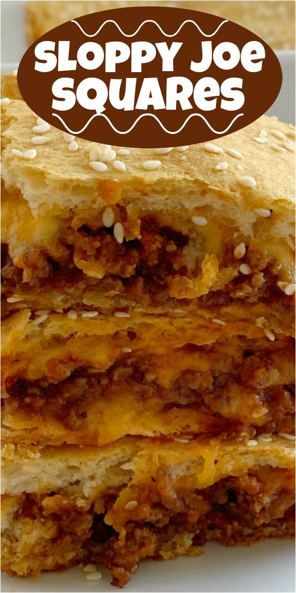 Sloppy Joe Recipe | Sloppy Joe Biscuit Casserole | Sloppy Joe Squares | Sloppy Joe recipe made into a casserole and sandwiched between two layers of buttery refrigerated biscuits. Quick and simple to make, your family will love this sloppy joe casserole. #dinner #groundbeefrecipes #sloppyjoes #sloppyjoerecipe