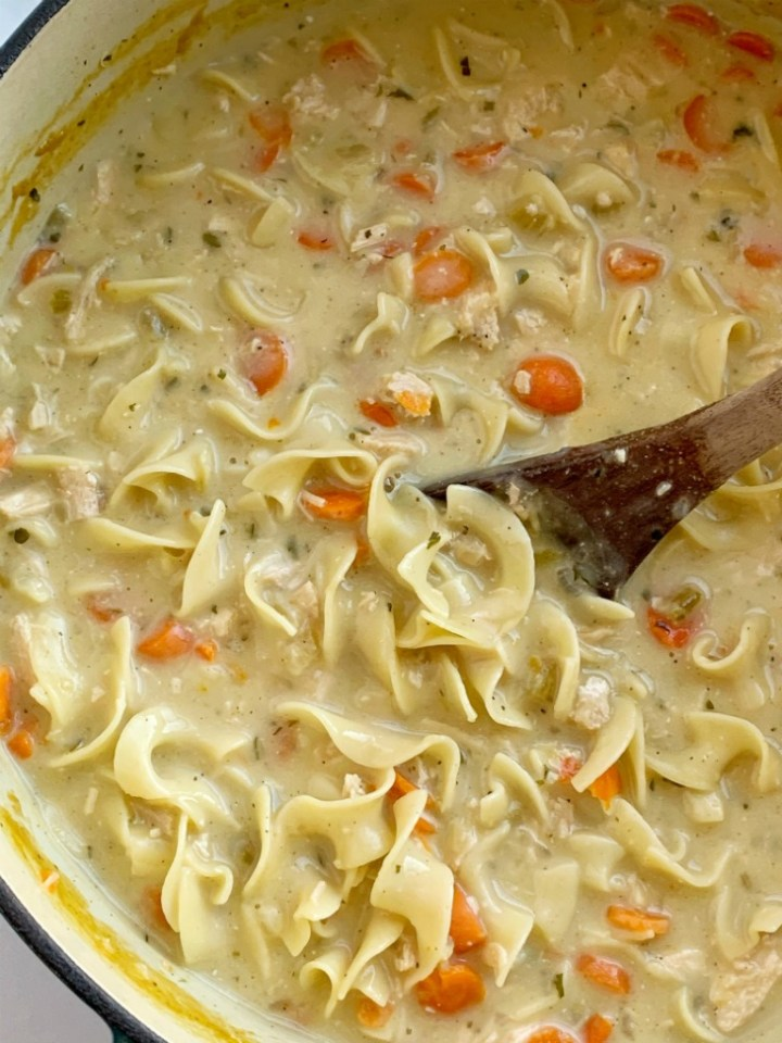 Creamy Chicken Noodle Soup is a creamy version of the classic comfort food chicken noodle soup. Chicken, carrots, onion, egg noodles in a creamy and flavorful seasoned chicken broth base.
