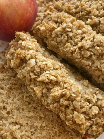 Applesauce Bread is an easy quick bread recipe which means no yeast needed! Bakes up perfectly moist with a sweet oatmeal streusel topping.