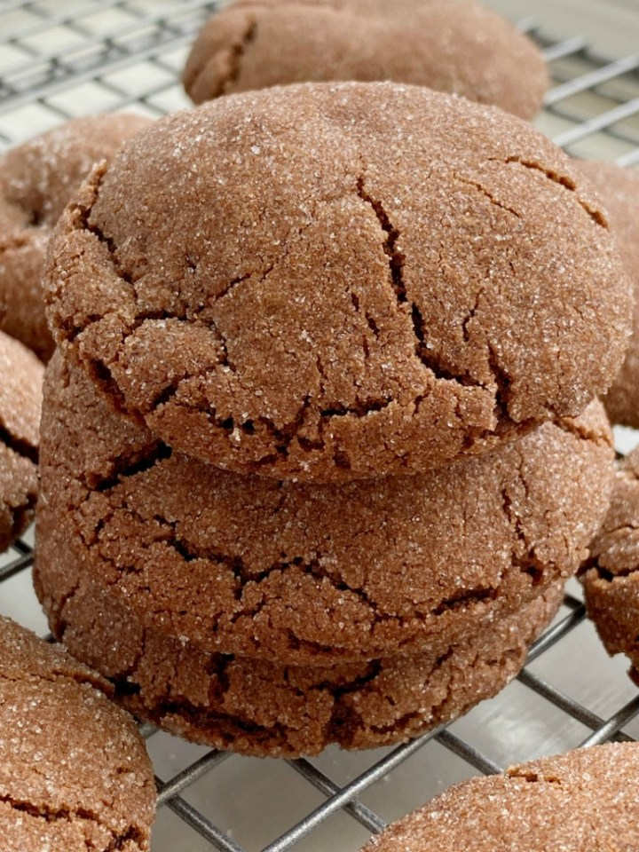 Rolo Cookies will cure any chocolate craving! Soft-baked, thick & chewy chocolate cookie stuffed with a caramel chocolate Rolo candy.