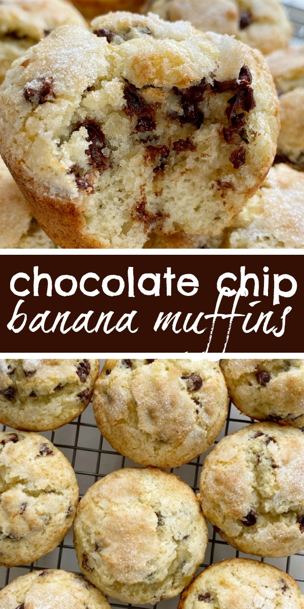 Chocolate Chip Banana Muffins bake up perfectly tall and round, soft-baked banana muffins, with chocolate chips and a sprinkle of sugar on top. You will love how soft and beautiful these banana muffins are! #muffinrecipes #bananarecipes #bananarecipes #bananabread #recipeoftheday