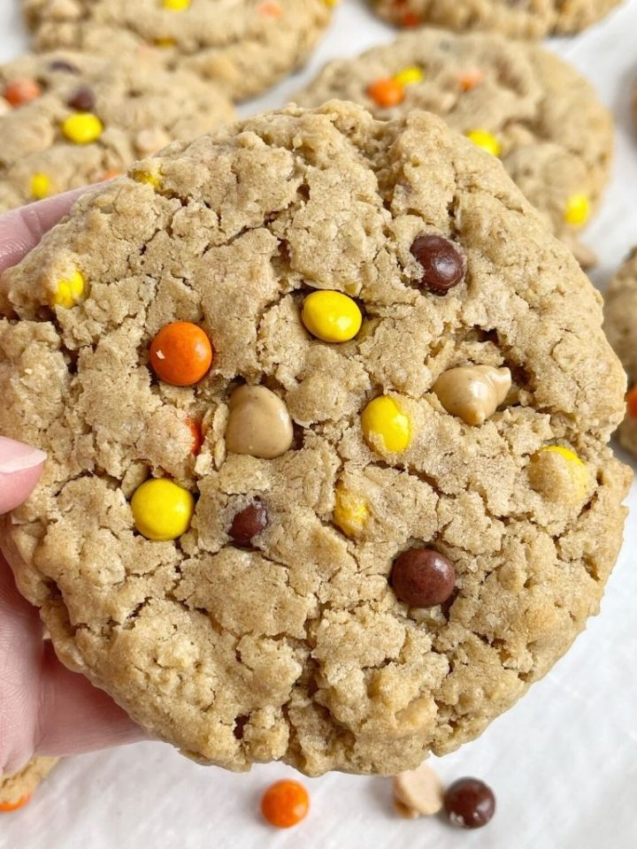 A hand holding a peanut butter monster cookie up close to show the texture.