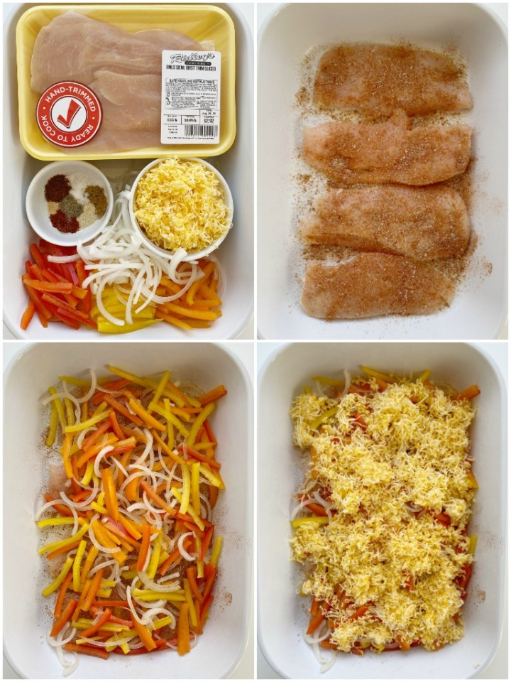 Chicken Fajita Bake is a healthy, one pan dinner recipe with chicken breasts, onion, sweet bell peppers, cheese, and a homemade fajita seasoning. So easy, quick, and super delicious!