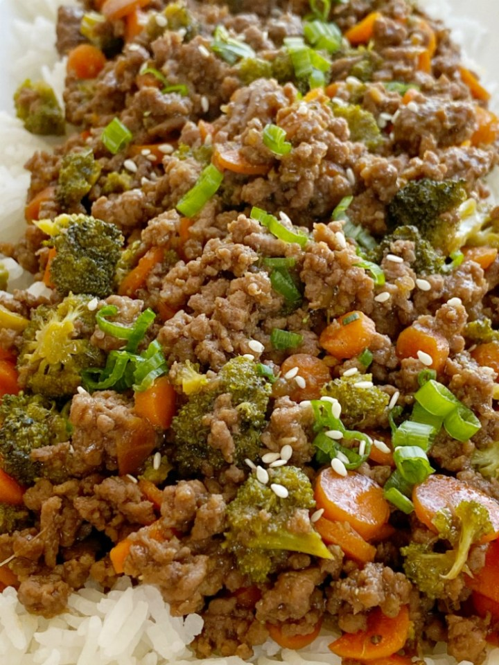 Ground Beef Teriyaki Rice Bowls Together As Family