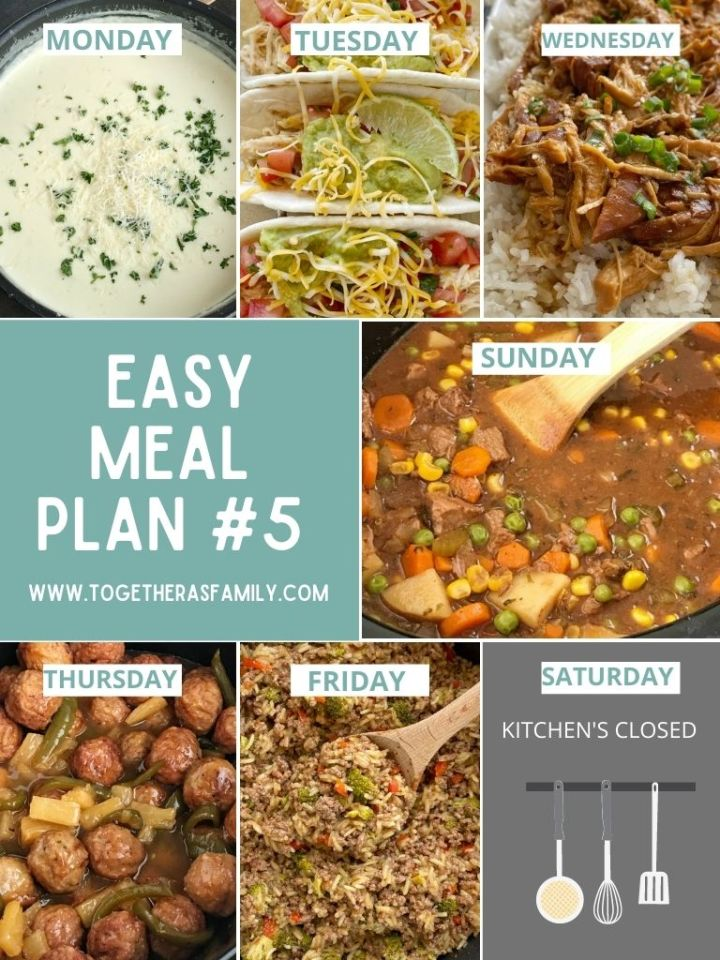 An image of the weekly meal plan with 6 different dinner ideas for the week.