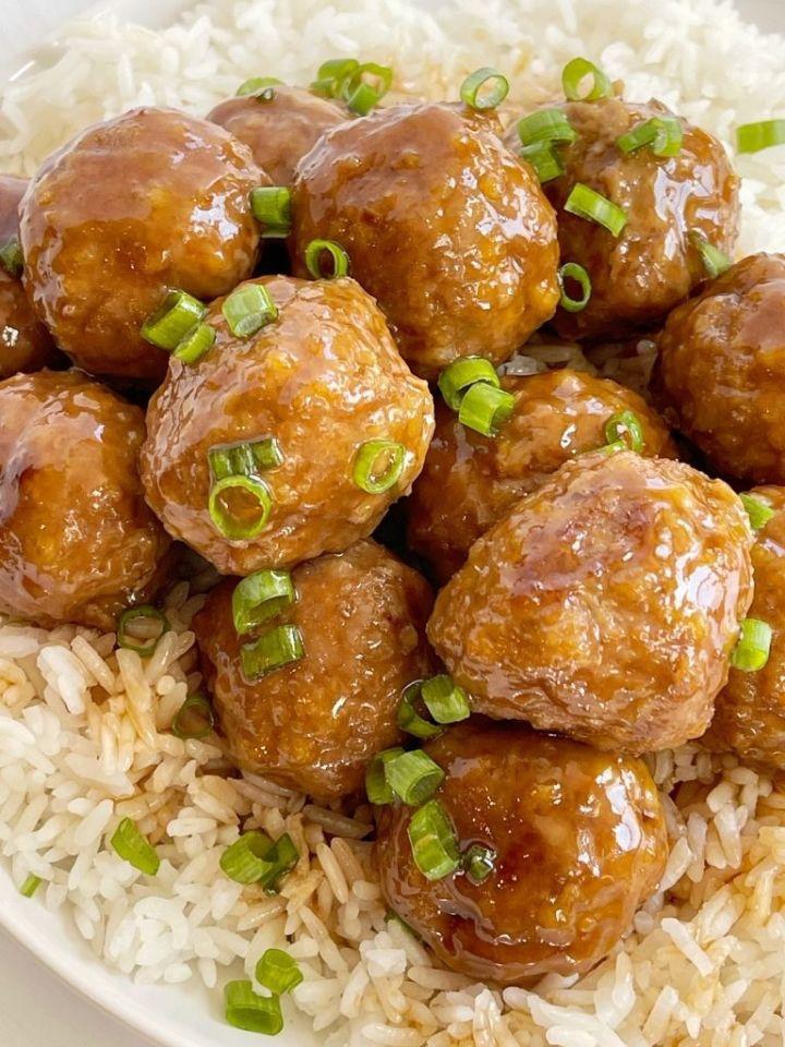 Plate of meatballs with teriyaki sauce.