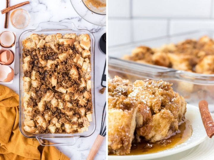 How to make a baked French toast casserole with step by step photos.