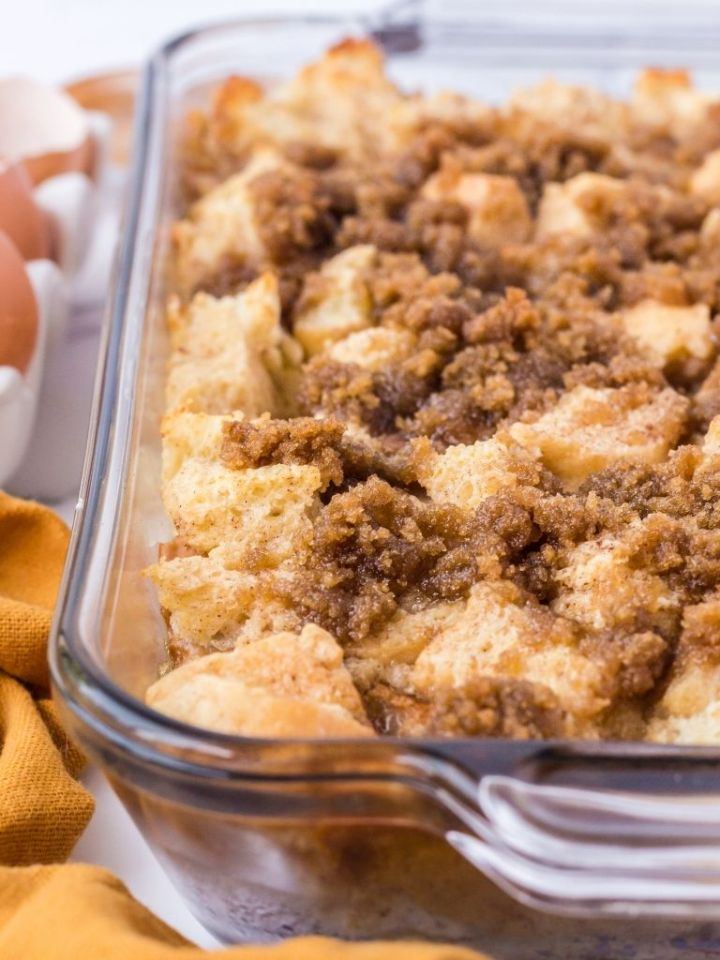 A baking dish with French toast casserole inside.