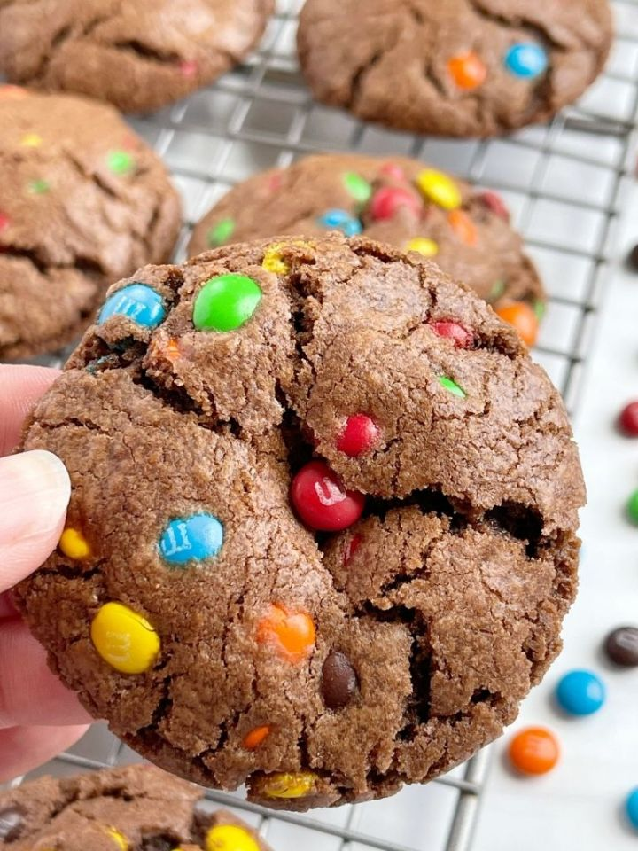 A picture of a hand holding a chocolate cookie with m&m on top and inside the cookie.