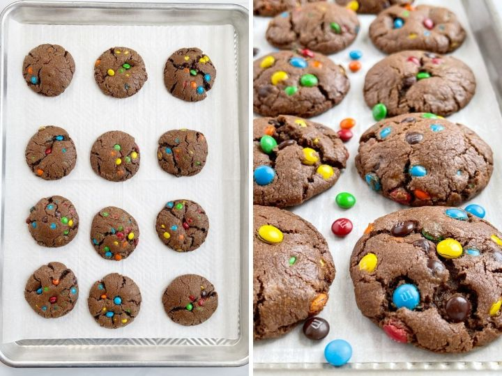 How to make m&m chocolate cookies with a step by step picture collage.