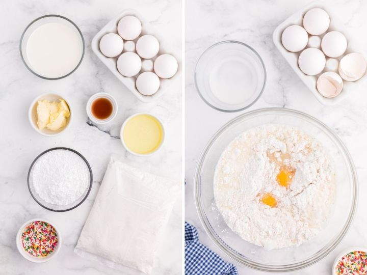 Ingredients laid out on a white marble background showing how to make donuts with a cake mix. A bowl with the donut batter ingredients inside of it.