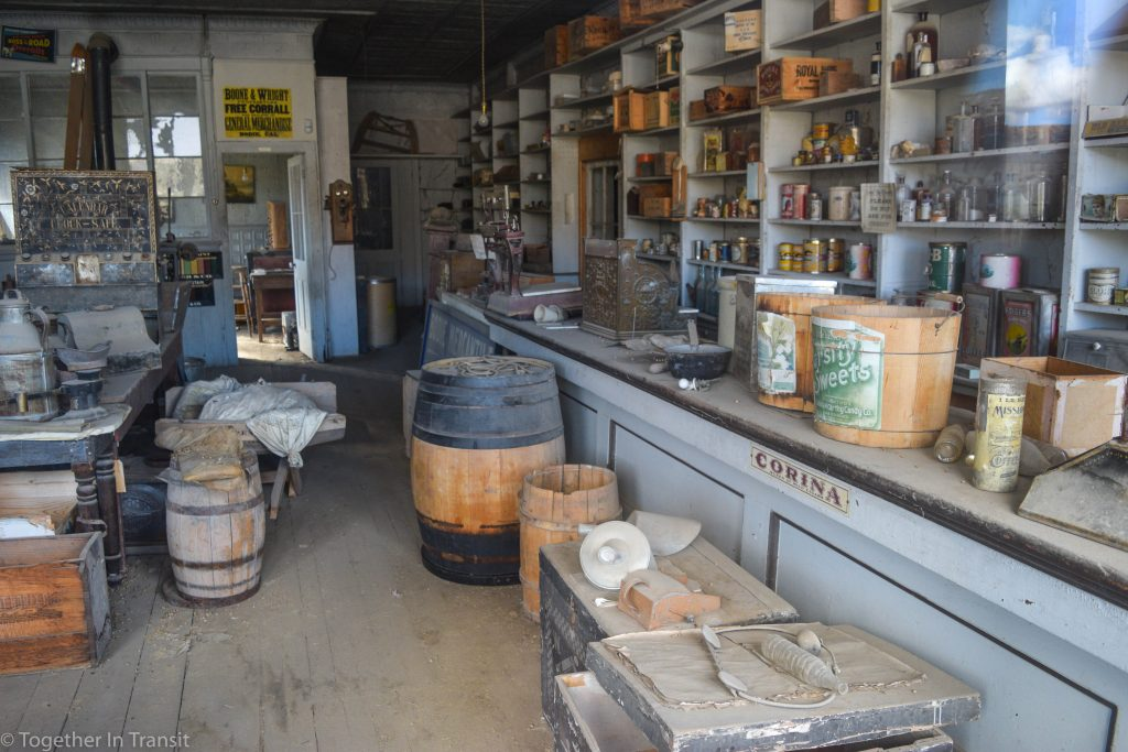 Inside one of the stores at at Bodie State Park, California