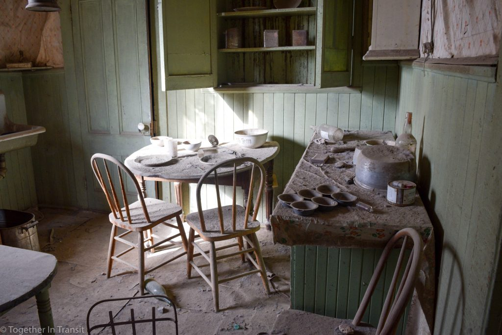 Original abandoned kitchen at Bodie State Park, California