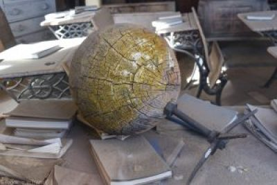 Abandoned books and globe in the school at Bodie State Park, California