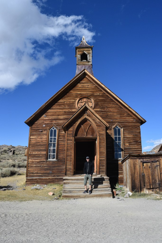 Visiting the church at the historic ghost town of Bodie State Park in California, US