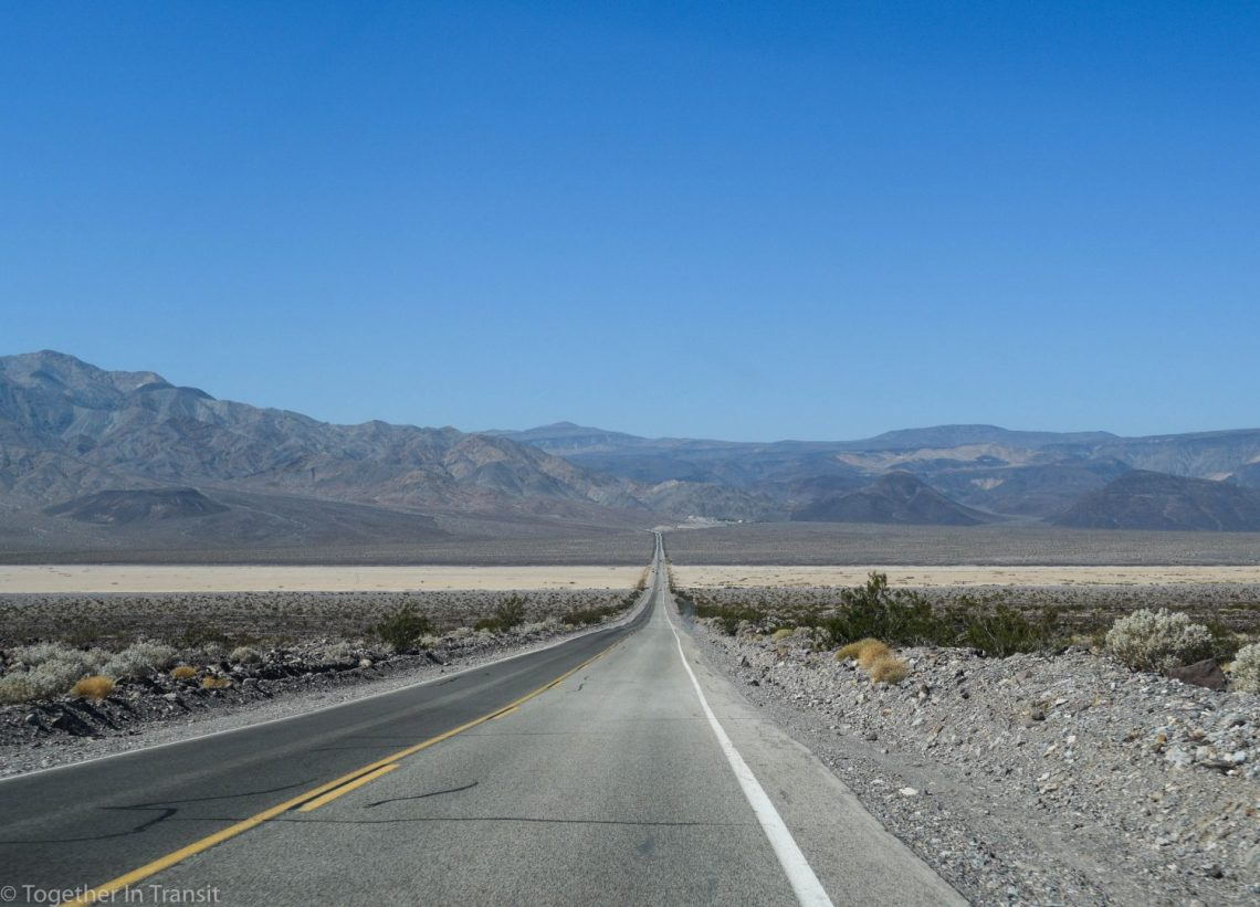 One of the Death Valley straight roads through the sand dunes