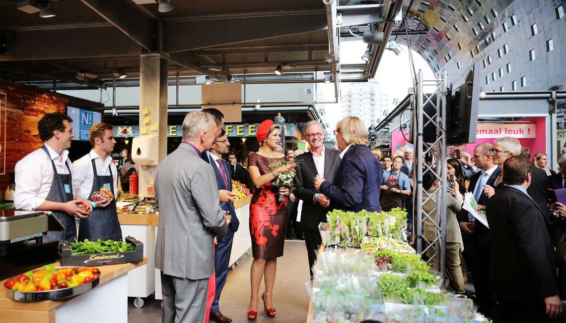 Queen Maxima at the opening of the Markthal Rotterdam