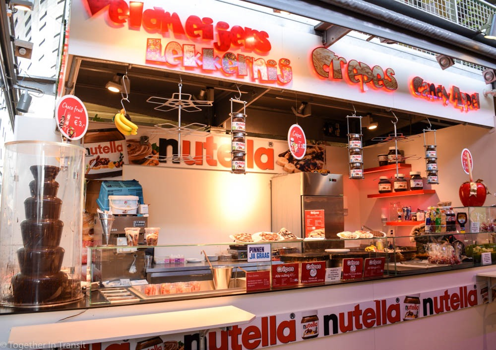 Nutella pancakes stall at the Markthal Rotterdam