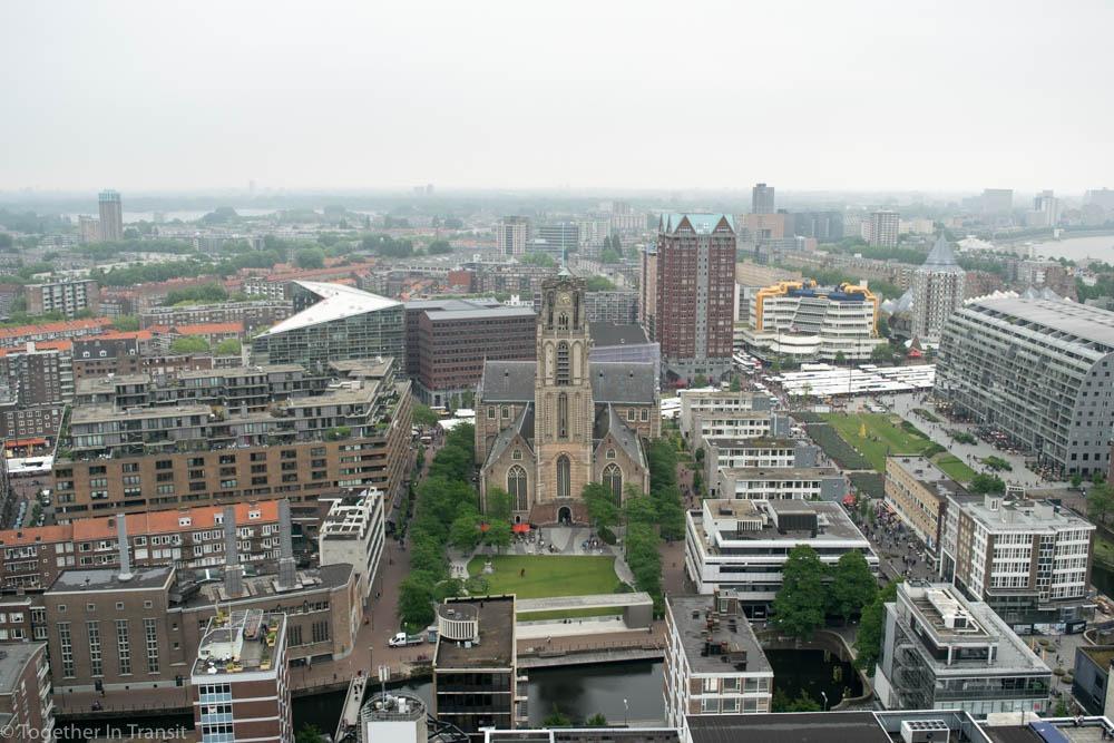 Laurenskerk, Library and Markthal views from the World Trade Center during Dakendagen 2018