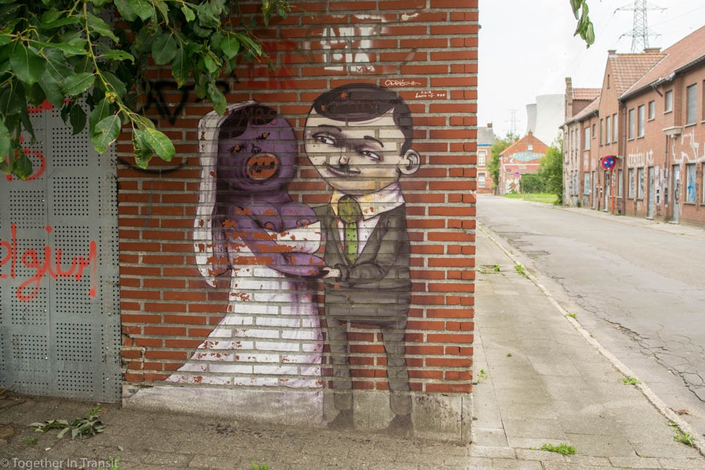 Street art wedding couple in Abandoned Ghost Town Doel in Belgium