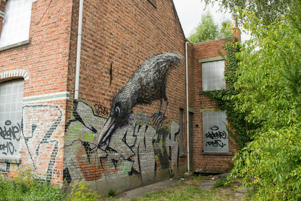 Street art in the Abandoned Ghost Town Doel in Belgium