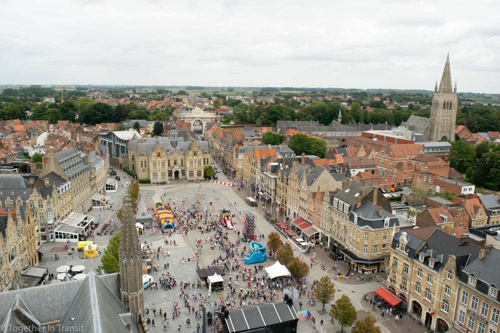 The view from the cloth hall tower, accessible through the museum In Flanders Fields.