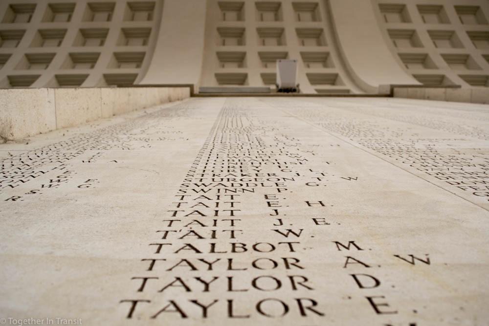 Names on the Menin Gate Memorial in Ypres