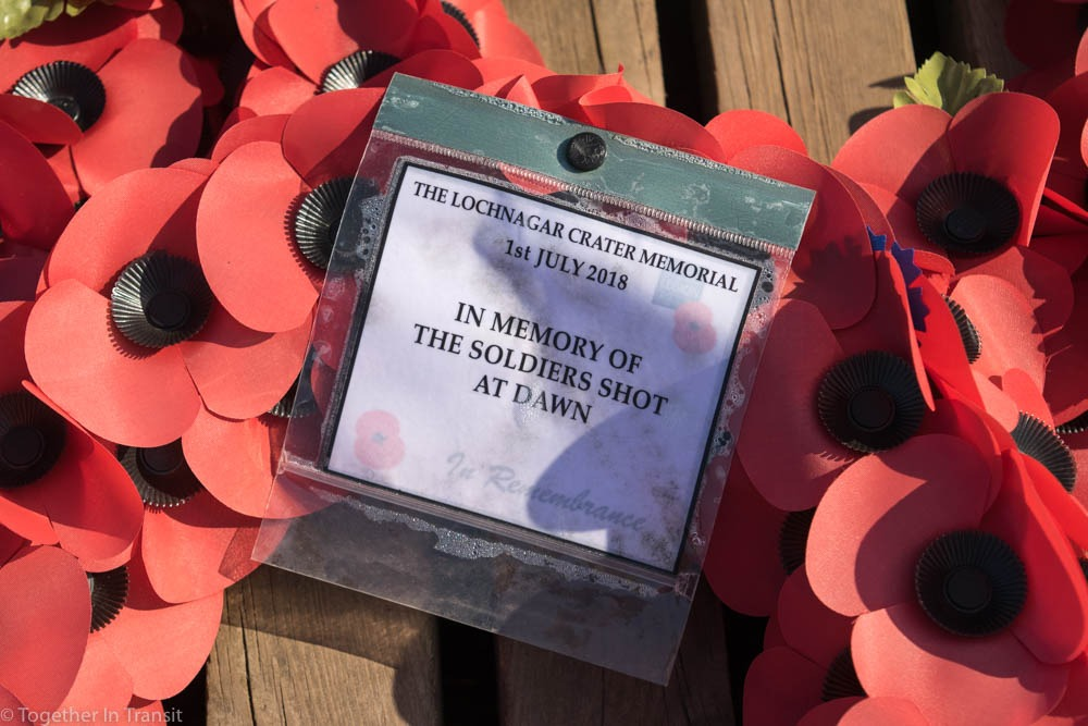 Lochnagar Crater memorial poppies from the 100 years anniversary in France