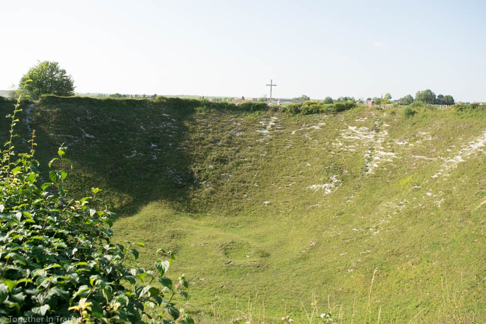 Looking down into Lochnagar Crater, France