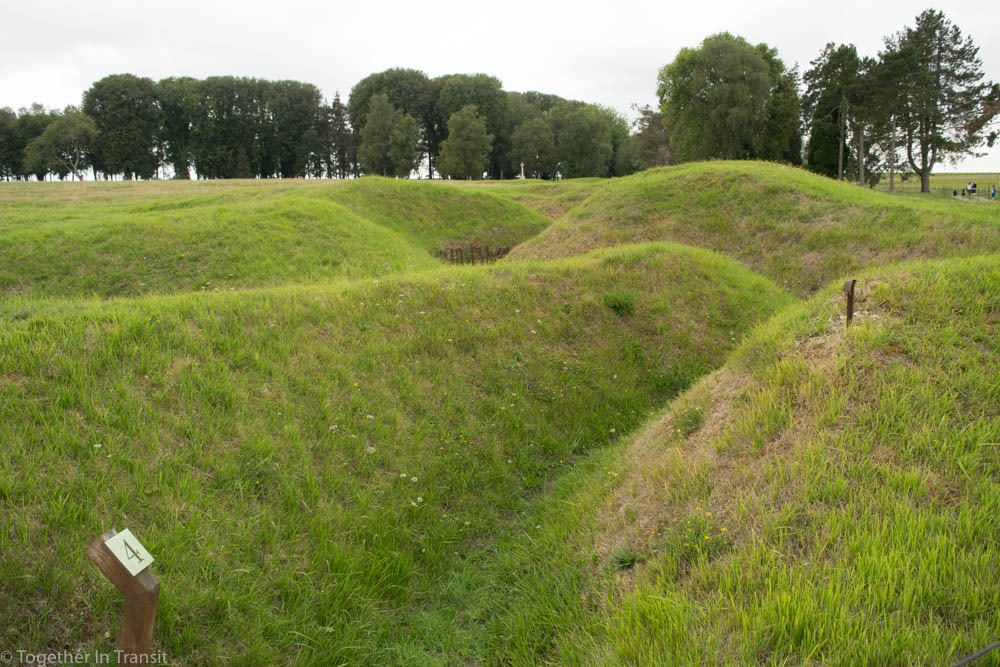 The front line of the German trenches at Beaumont-Hamel Newfoundland Memorial near Albert, France.