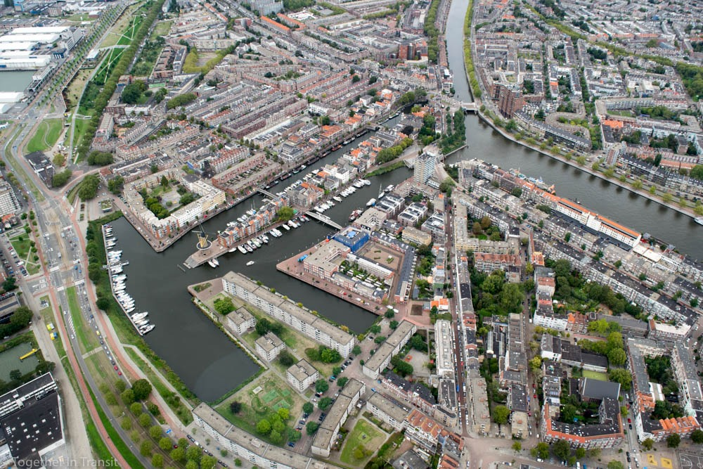 Delfshaven from above in a Helicopter