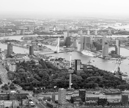 Rotterdam City from above in the Helicopter