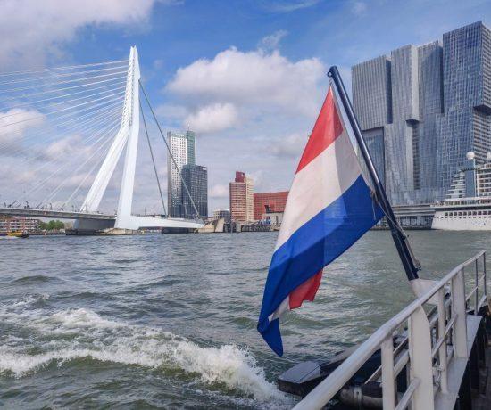 Rotterdam Erasmusbrug and the Dutch flag