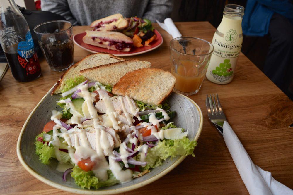 caeser salad with apple juice