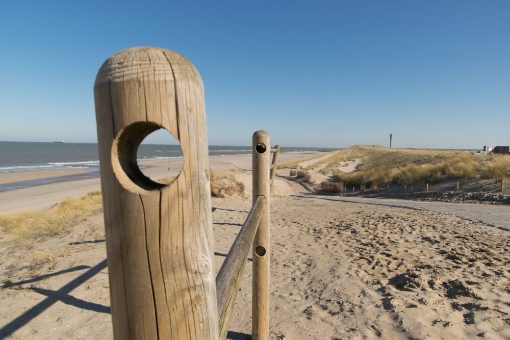 Maasvlakte Beach posts with a view of the sea