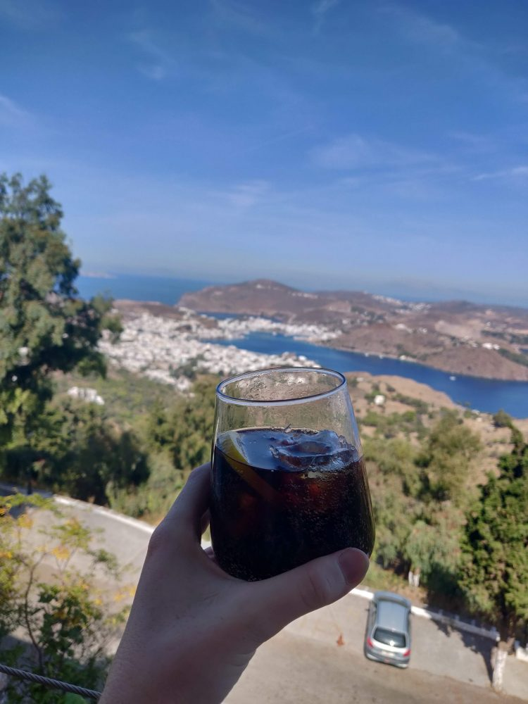 Drink with a view of the island