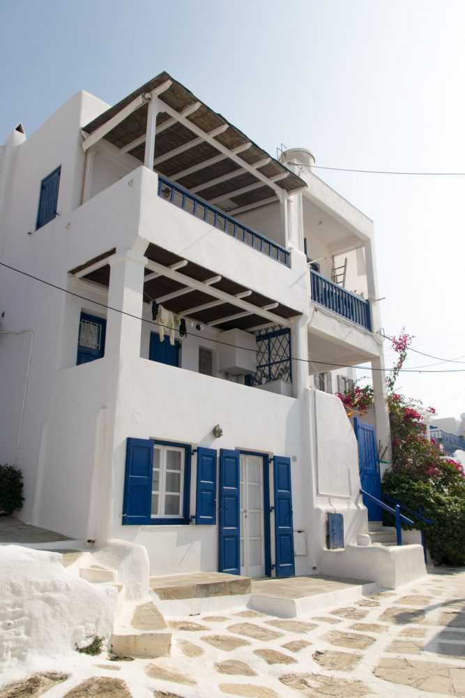 Pretty white and blue building in Greece