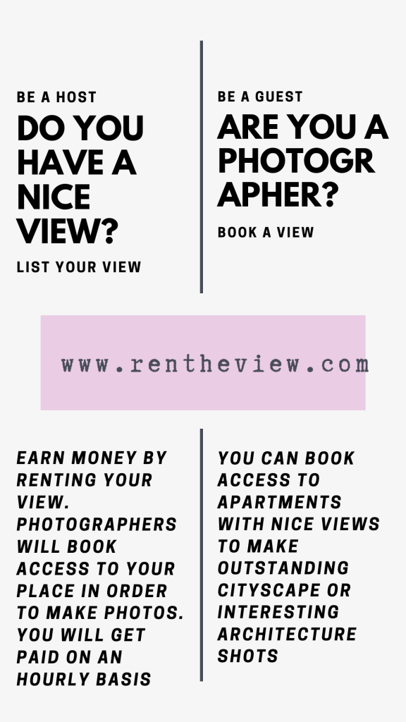 Rent The View is a brand new platform for those looking for cool, cityscape, architectural, interesting views for their photography! This new platform is perfect for photographers looking for new angles to shoot at, on an hourly basis too! Check out more below to become a host with an amazing view, or a guest to visit! #rentheview #renttheview #Cityscape #Architecture #SkylineViews