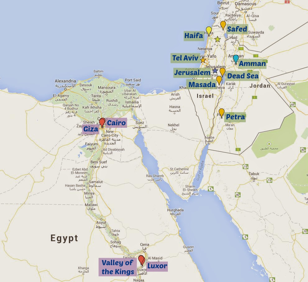 The Itinerary TTdoesIsrael The Together Traveler - Map of egypt israel jordan