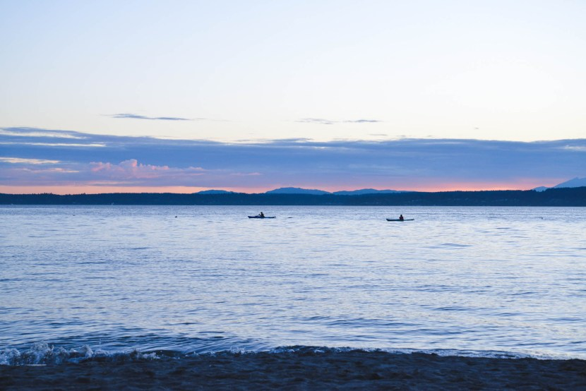 Sit on Shilshole bay and watch the kayaks glide by
