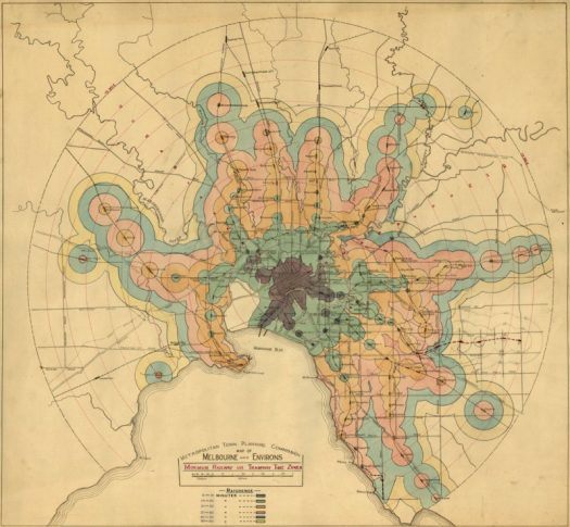 isochrone map of Melbourne