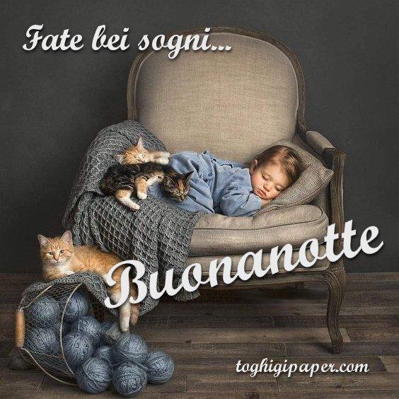buona notte bambino con gattini andrà tutto bene immagini gratis WhatsApp nuove bacionotte dolci sogni