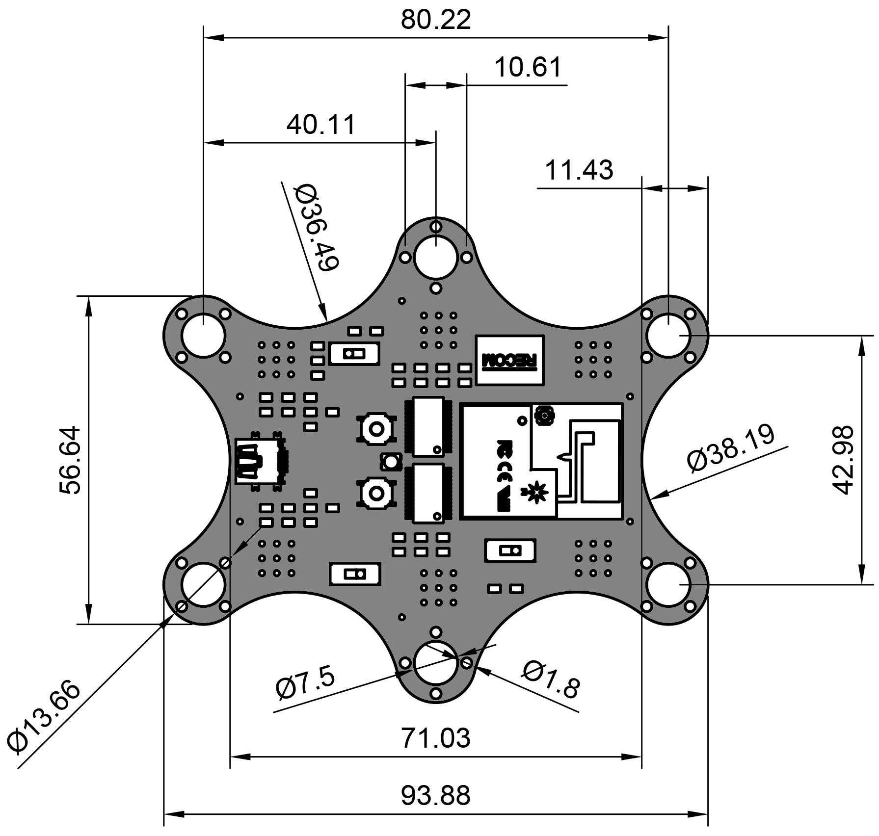 Using Fusion 360 To Design Complex Pcb Shapes In Eagle Cad Designer Is Everything You Need Easy Use So While It Would Certainly Be Possible Plot Out The Cartesian Coordinates For Each Of Vertices And Circle Centers This Then Input