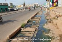 eaux usées au carrefour Adidoadin lome