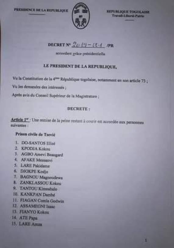 Prisonniers Faure Gnassingbé accorde la grâce présidentielle à 454 prisonniers [Listes]